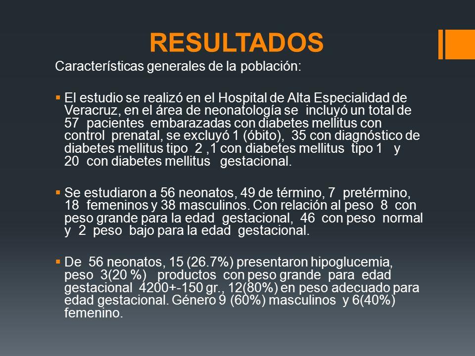 RESULTADOS Características generales de la población: