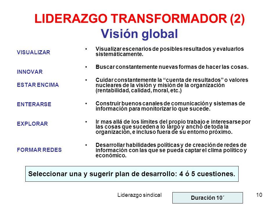 LIDERAZGO TRANSFORMADOR (2) Visión global