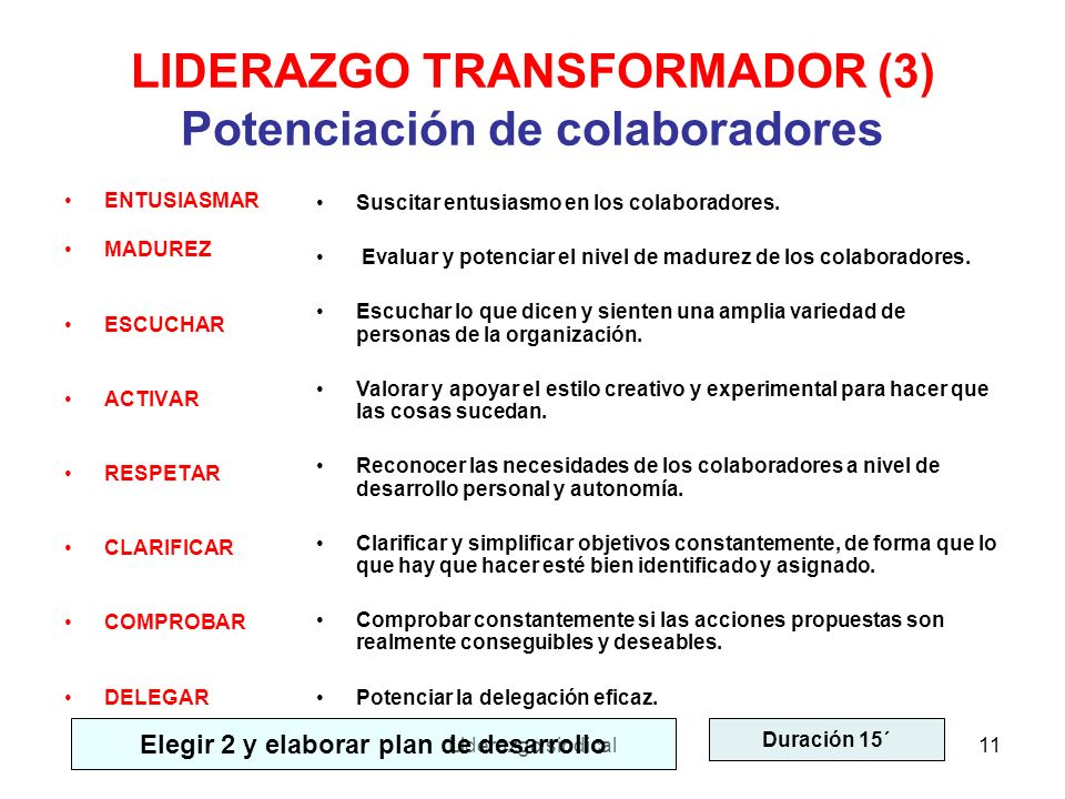 LIDERAZGO TRANSFORMADOR (3) Potenciación de colaboradores