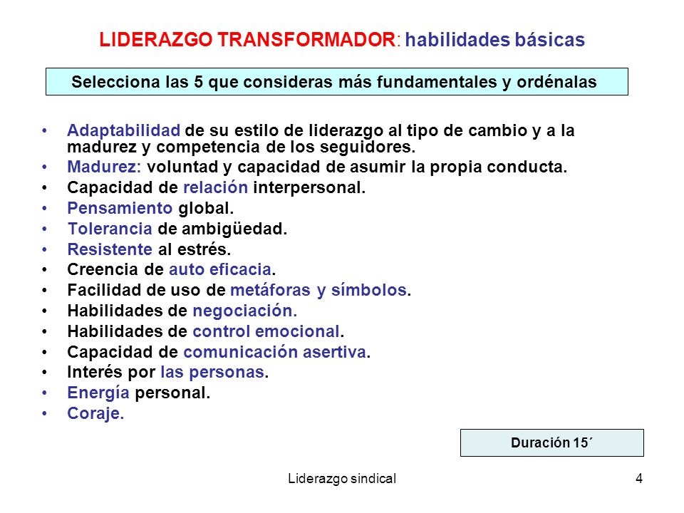 LIDERAZGO TRANSFORMADOR: habilidades básicas