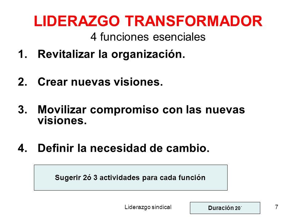 LIDERAZGO TRANSFORMADOR 4 funciones esenciales