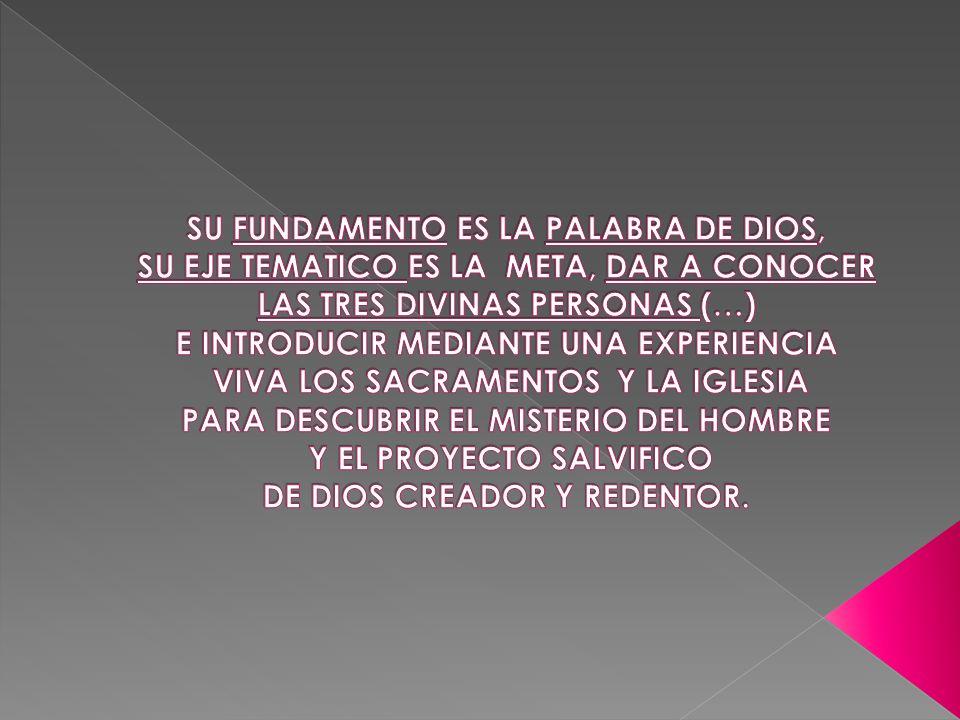SU FUNDAMENTO ES LA PALABRA DE DIOS, SU EJE TEMATICO ES LA META, DAR A CONOCER LAS TRES DIVINAS PERSONAS (…) E INTRODUCIR MEDIANTE UNA EXPERIENCIA VIVA LOS SACRAMENTOS Y LA IGLESIA PARA DESCUBRIR EL MISTERIO DEL HOMBRE Y EL PROYECTO SALVIFICO DE DIOS CREADOR Y REDENTOR.
