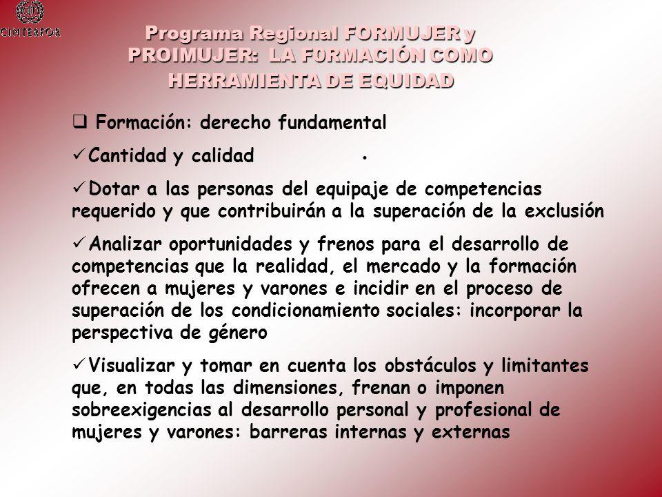 Programa Regional FORMUJER y PROIMUJER: LA F0RMACIÓN COMO HERRAMIENTA DE EQUIDAD