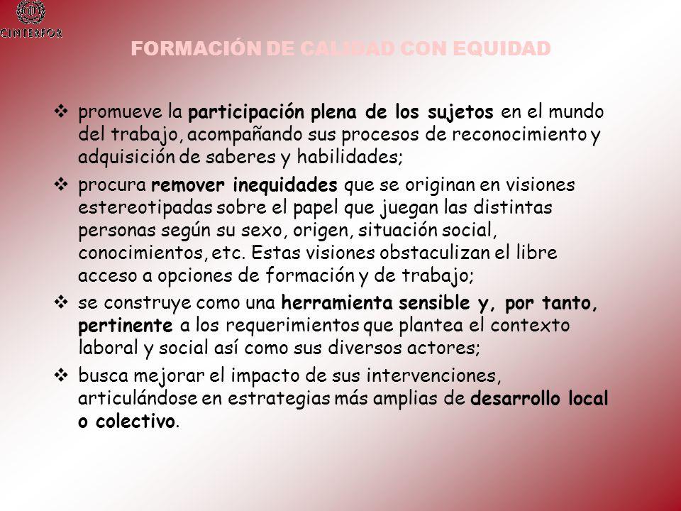 FORMACIÓN DE CALIDAD CON EQUIDAD
