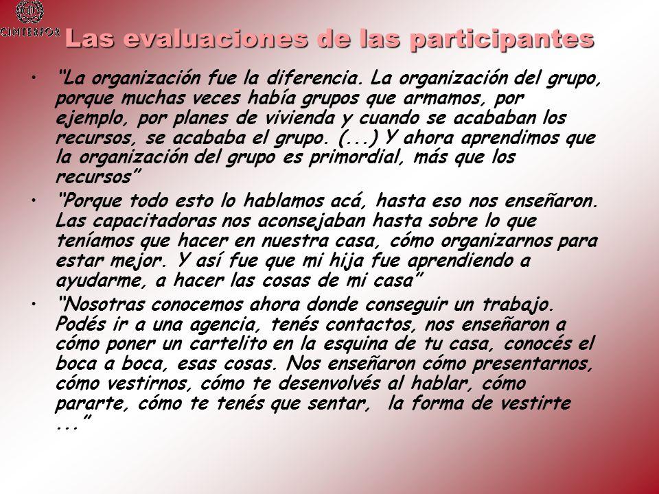 Las evaluaciones de las participantes