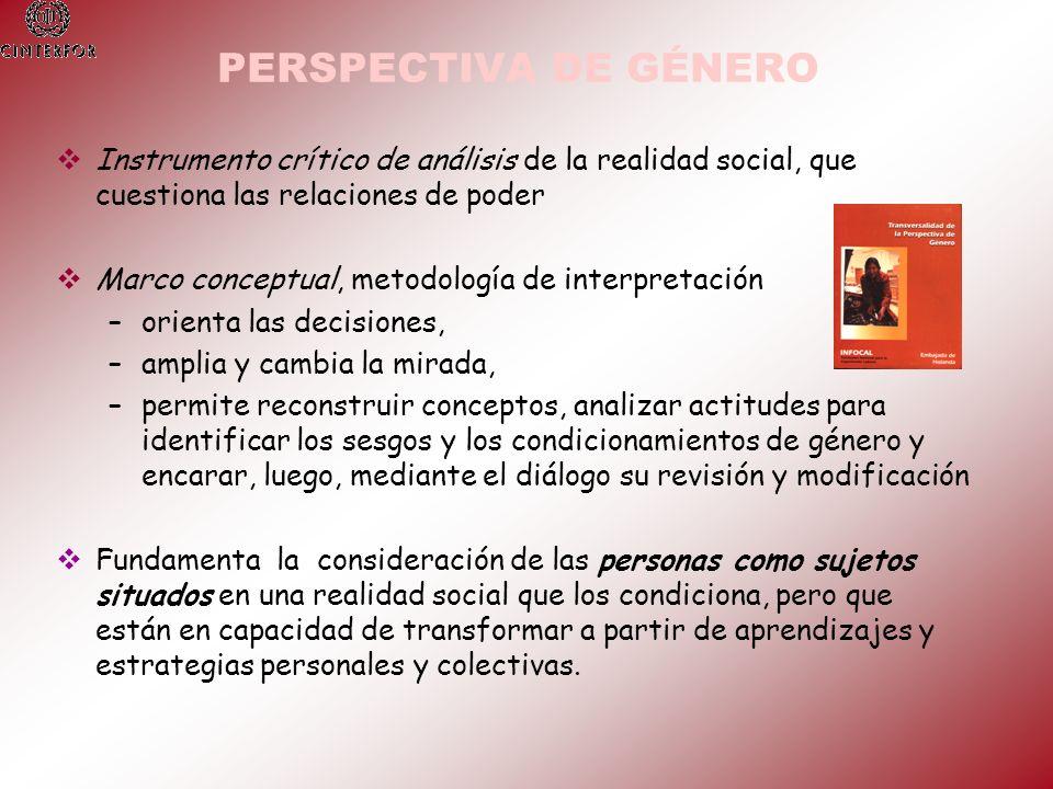PERSPECTIVA DE GÉNERO Instrumento crítico de análisis de la realidad social, que cuestiona las relaciones de poder.