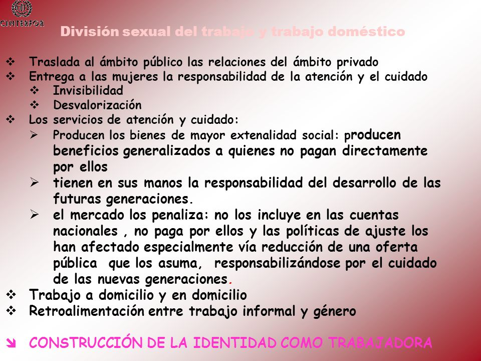 División sexual del trabajo y trabajo doméstico
