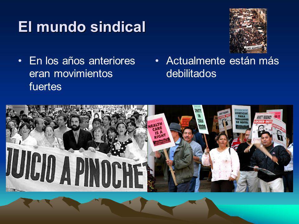 El mundo sindical En los años anteriores eran movimientos fuertes