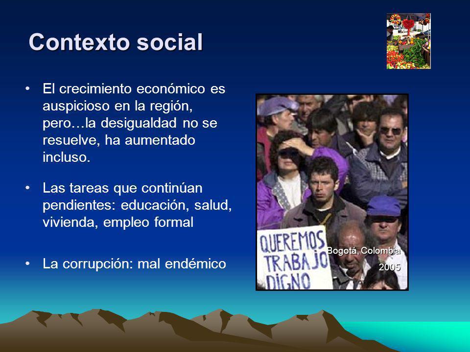 Contexto social El crecimiento económico es auspicioso en la región, pero…la desigualdad no se resuelve, ha aumentado incluso.