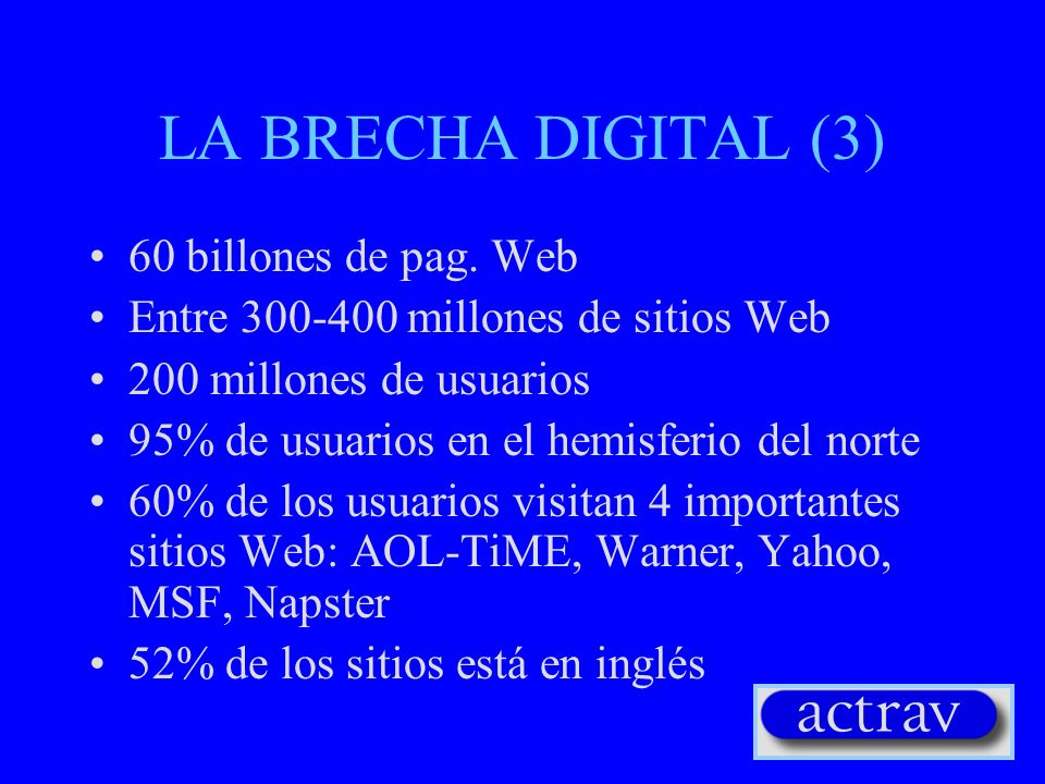 LA BRECHA DIGITAL (3) 60 billones de pag. Web