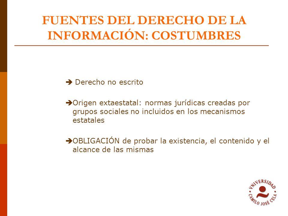 FUENTES DEL DERECHO DE LA INFORMACIÓN: COSTUMBRES