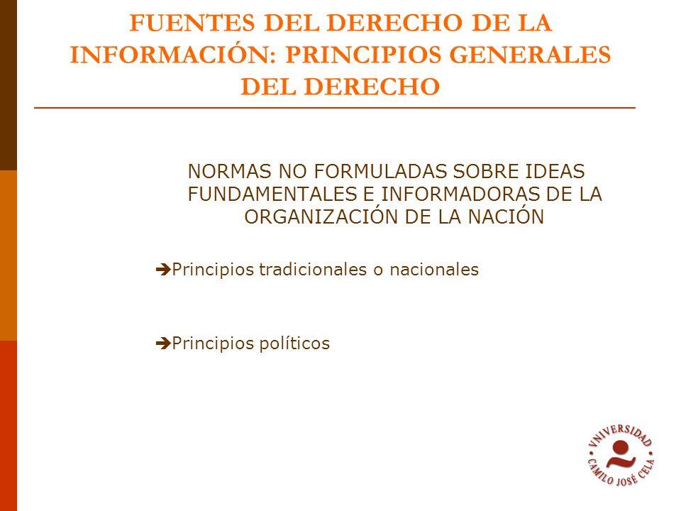 FUENTES DEL DERECHO DE LA INFORMACIÓN: PRINCIPIOS GENERALES DEL DERECHO
