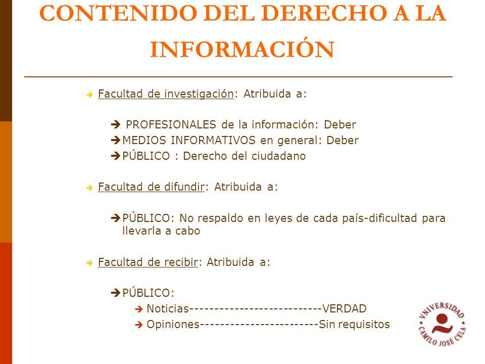 CONTENIDO DEL DERECHO A LA INFORMACIÓN