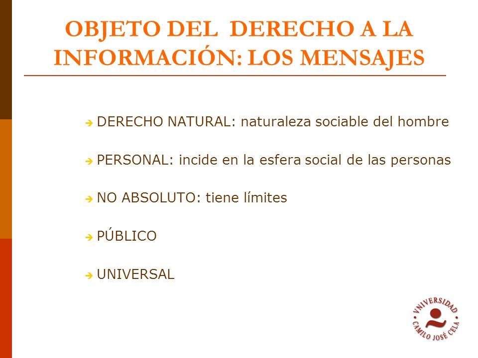 OBJETO DEL DERECHO A LA INFORMACIÓN: LOS MENSAJES