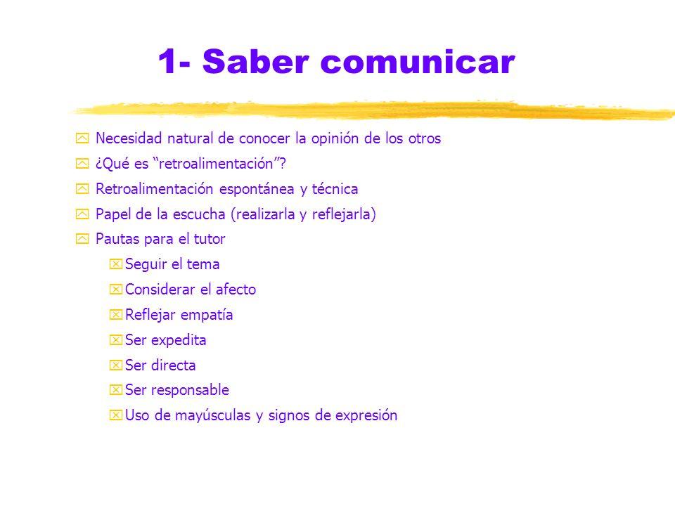 1- Saber comunicar Necesidad natural de conocer la opinión de los otros. ¿Qué es retroalimentación