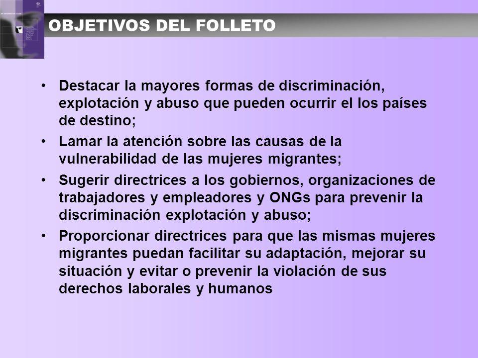 OBJETIVOS DEL FOLLETO Destacar la mayores formas de discriminación, explotación y abuso que pueden ocurrir el los países de destino;