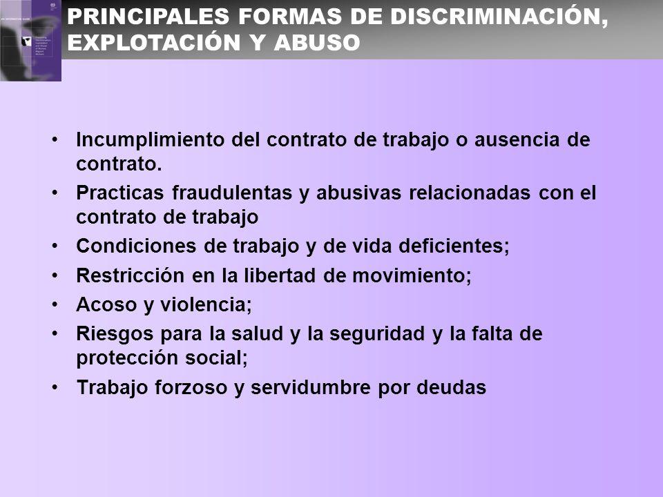 PRINCIPALES FORMAS DE DISCRIMINACIÓN, EXPLOTACIÓN Y ABUSO