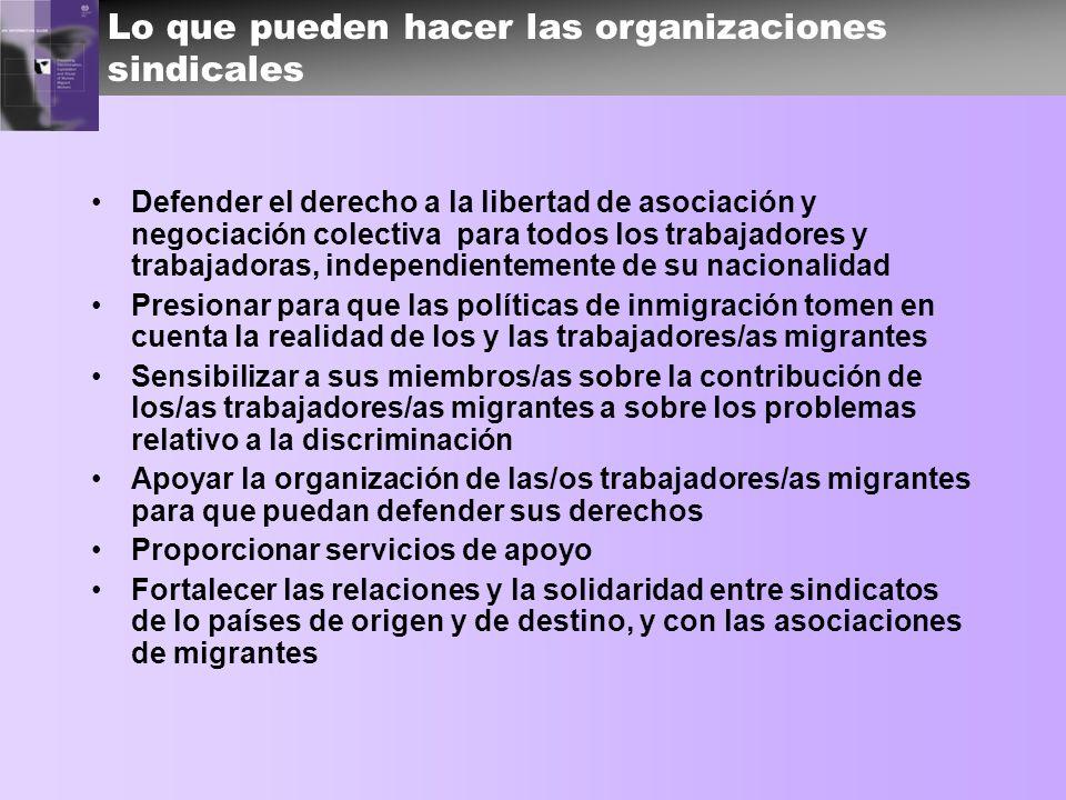 Lo que pueden hacer las organizaciones sindicales