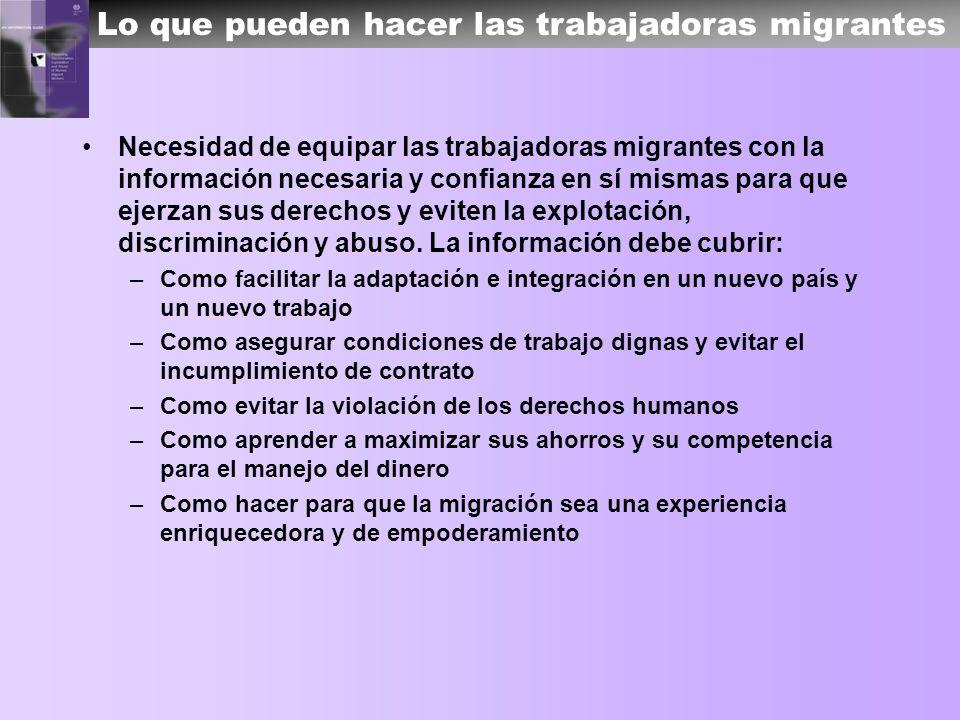 Lo que pueden hacer las trabajadoras migrantes