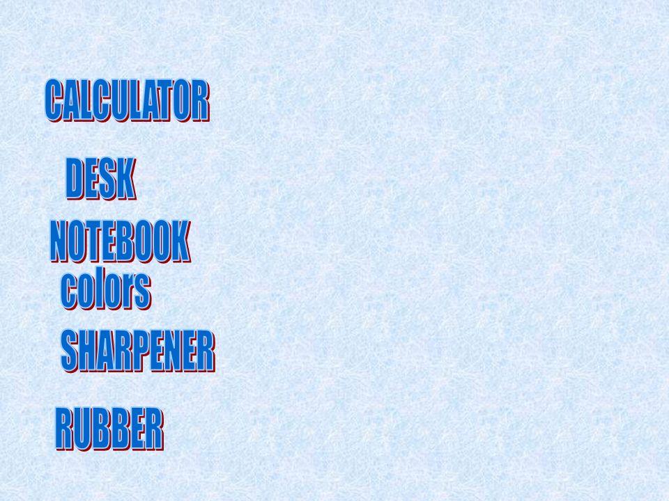 CALCULATOR DESK NOTEBOOK colors SHARPENER RUBBER