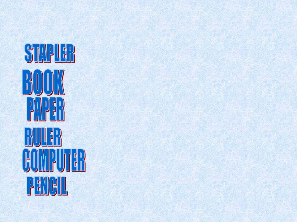 STAPLER BOOK PAPER RULER COMPUTER PENCIL