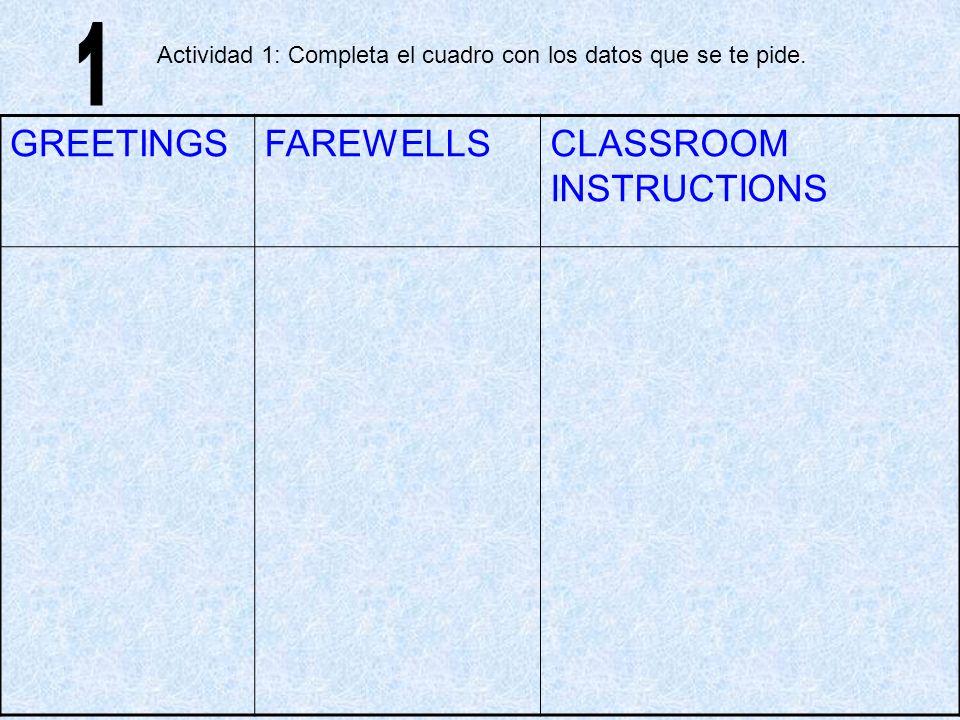 CLASSROOM INSTRUCTIONS