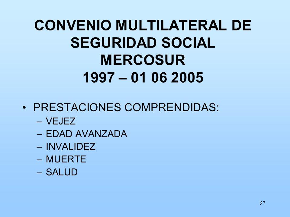CONVENIO MULTILATERAL DE SEGURIDAD SOCIAL MERCOSUR 1997 – 01 06 2005