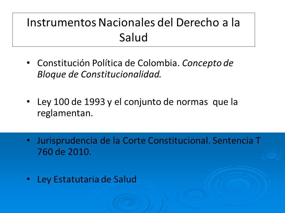 Instrumentos Nacionales del Derecho a la Salud