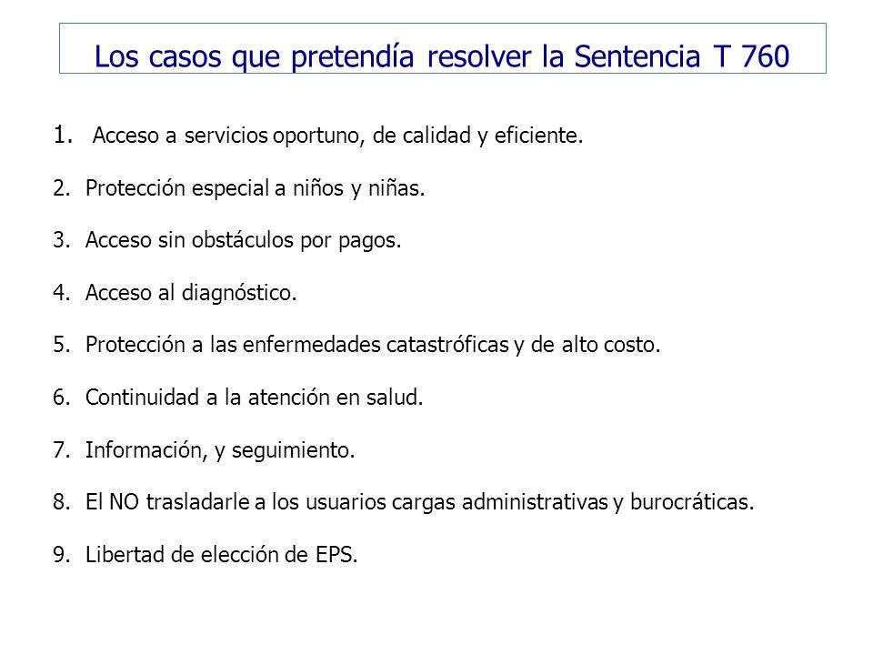 Los casos que pretendía resolver la Sentencia T 760