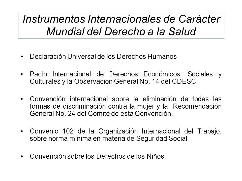 Instrumentos Internacionales de Carácter Mundial del Derecho a la Salud
