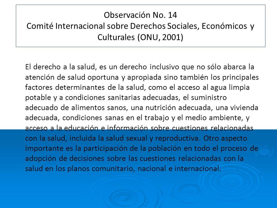 Observación No. 14 Comité Internacional sobre Derechos Sociales, Económicos y Culturales (ONU, 2001)