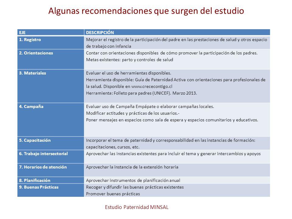 Algunas recomendaciones que surgen del estudio