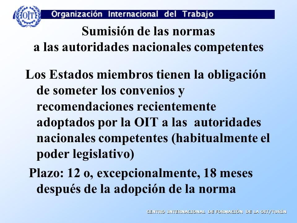 Sumisión de las normas a las autoridades nacionales competentes