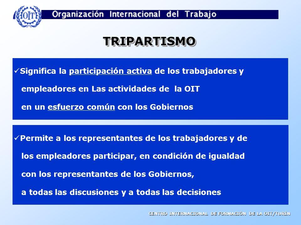TRIPARTISMO Significa la participación activa de los trabajadores y
