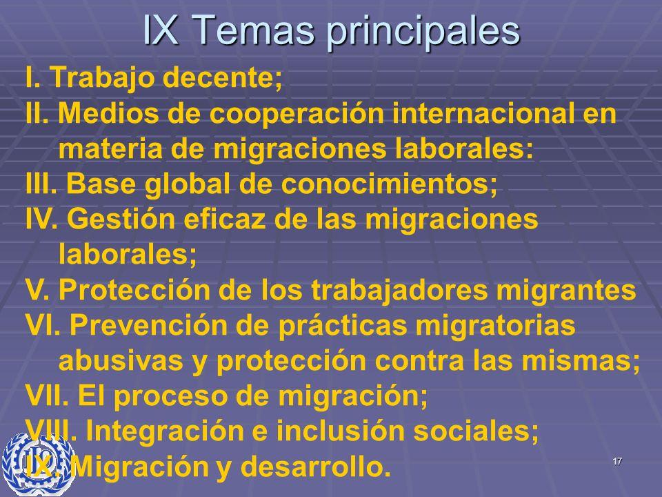 IX Temas principales I. Trabajo decente;