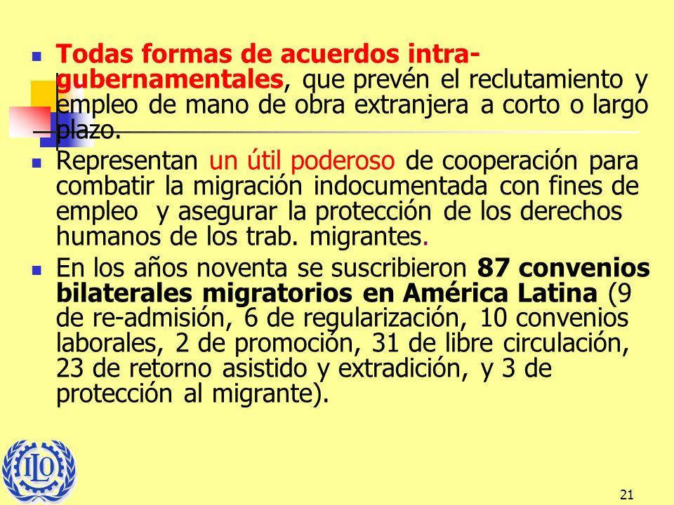 Todas formas de acuerdos intra-gubernamentales, que prevén el reclutamiento y empleo de mano de obra extranjera a corto o largo plazo.