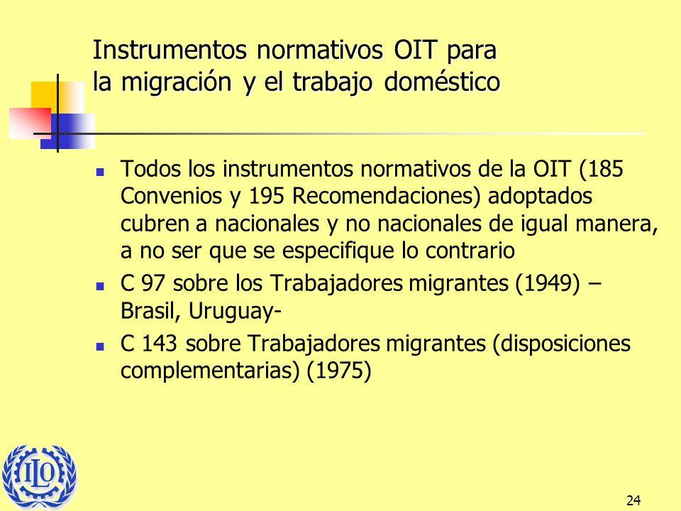 Instrumentos normativos OIT para la migración y el trabajo doméstico