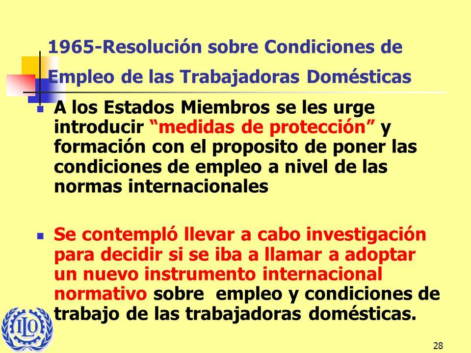 1965-Resolución sobre Condiciones de Empleo de las Trabajadoras Domésticas