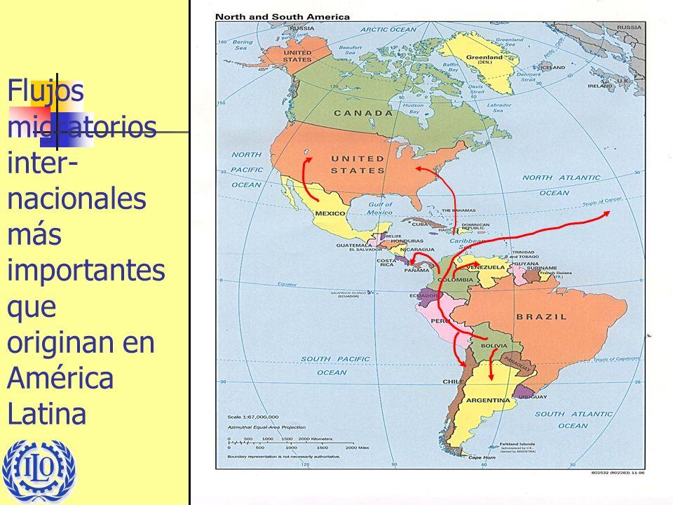 Flujos migratorios inter- nacionales más importantes que originan en América Latina
