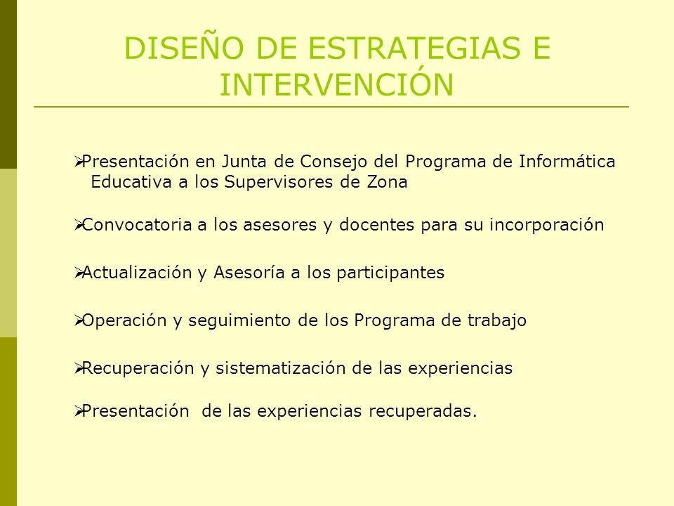 DISEÑO DE ESTRATEGIAS E INTERVENCIÓN