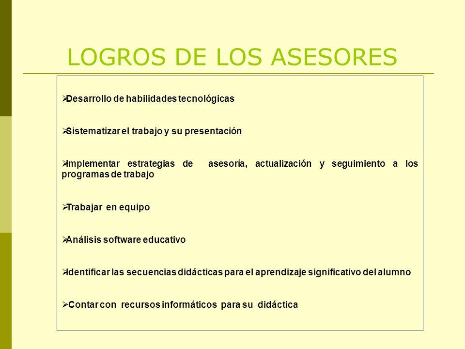 LOGROS DE LOS ASESORES Desarrollo de habilidades tecnológicas