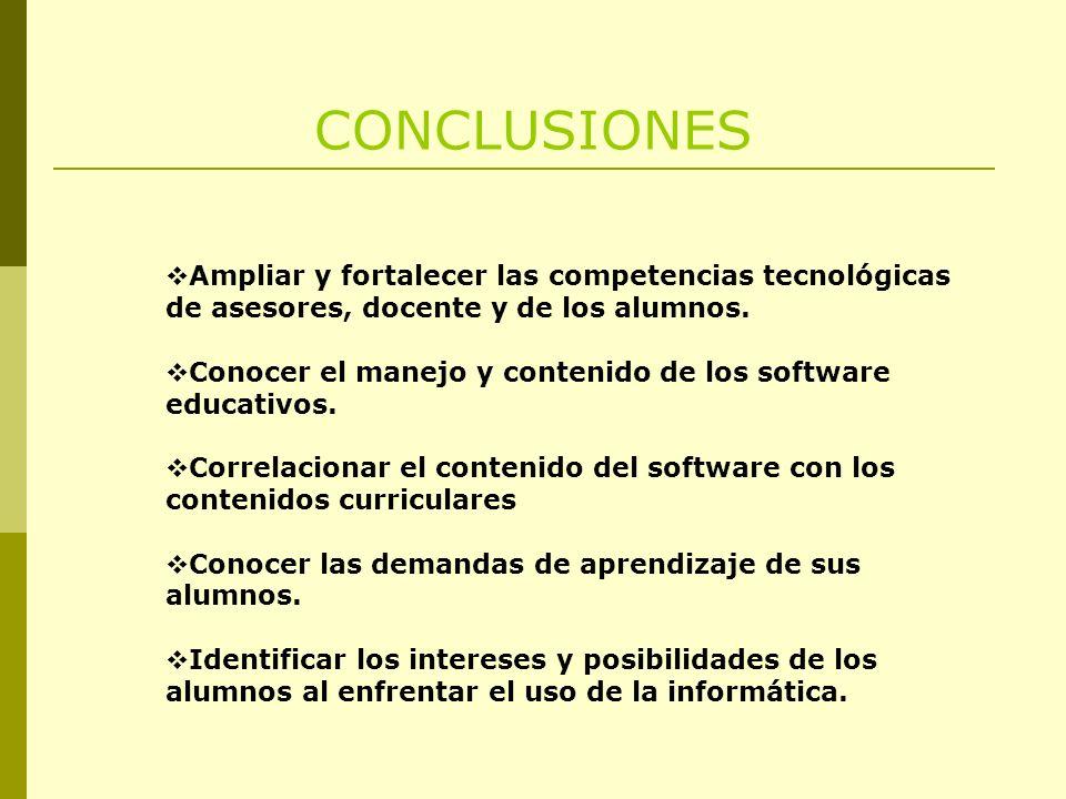 CONCLUSIONES Ampliar y fortalecer las competencias tecnológicas de asesores, docente y de los alumnos.