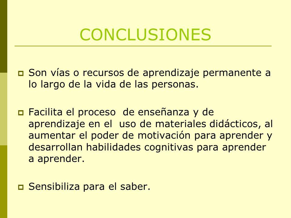 CONCLUSIONES Son vías o recursos de aprendizaje permanente a lo largo de la vida de las personas.