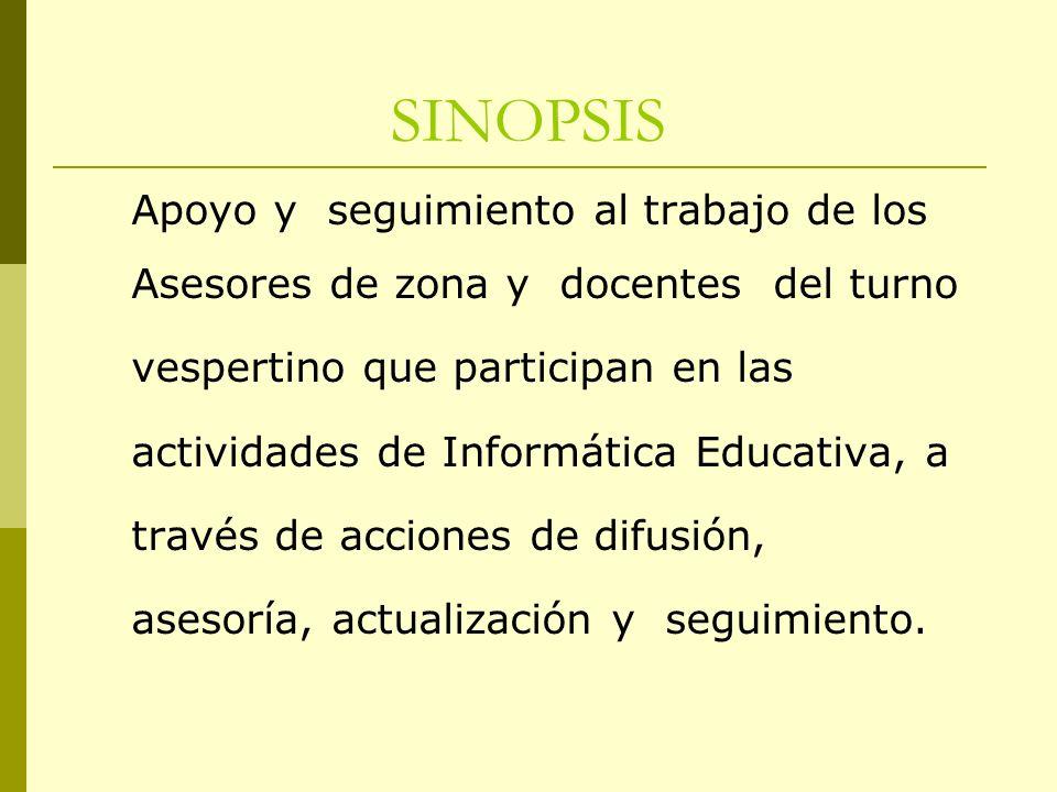 SINOPSIS Apoyo y seguimiento al trabajo de los
