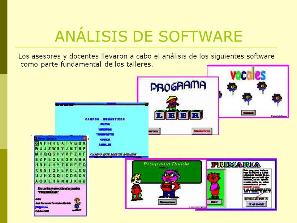 ANÁLISIS DE SOFTWARE Los asesores y docentes llevaron a cabo el análisis de los siguientes software.