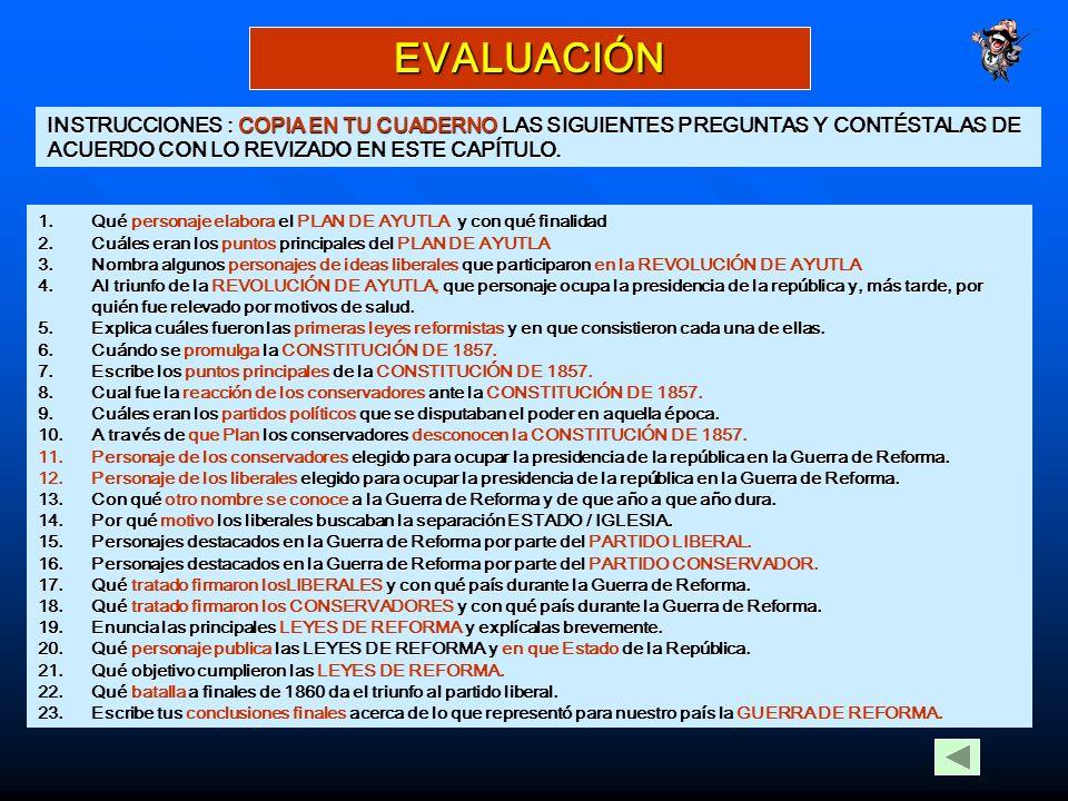 EVALUACIÓN INSTRUCCIONES : COPIA EN TU CUADERNO LAS SIGUIENTES PREGUNTAS Y CONTÉSTALAS DE ACUERDO CON LO REVIZADO EN ESTE CAPÍTULO.