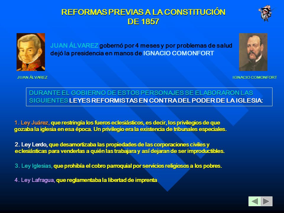 REFORMAS PREVIAS A LA CONSTITUCIÓN DE 1857