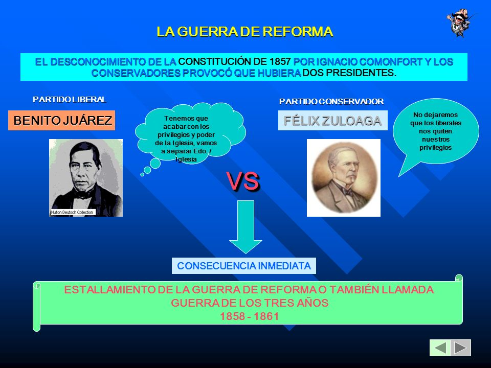 VS LA GUERRA DE REFORMA BENITO JUÁREZ FÉLIX ZULOAGA