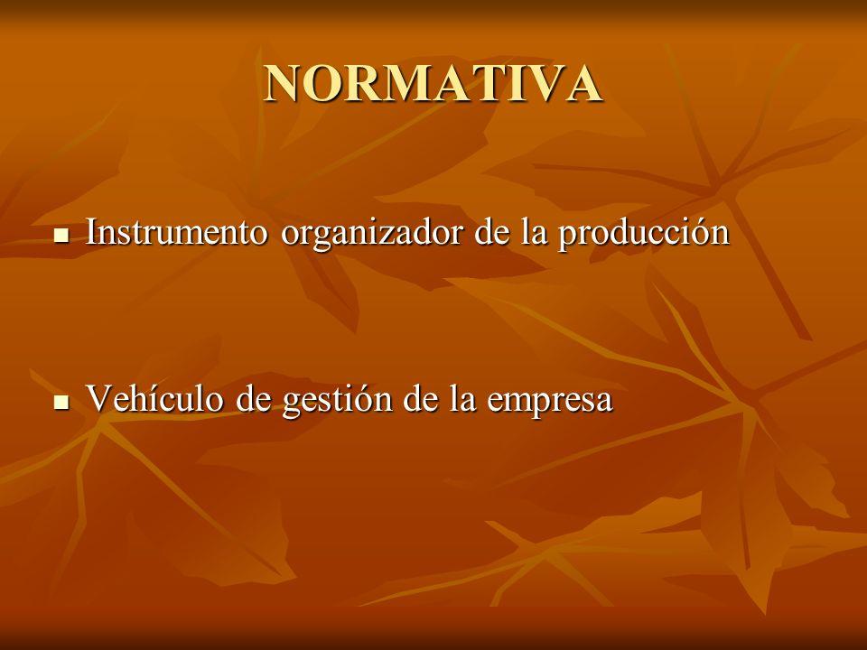 NORMATIVA Instrumento organizador de la producción
