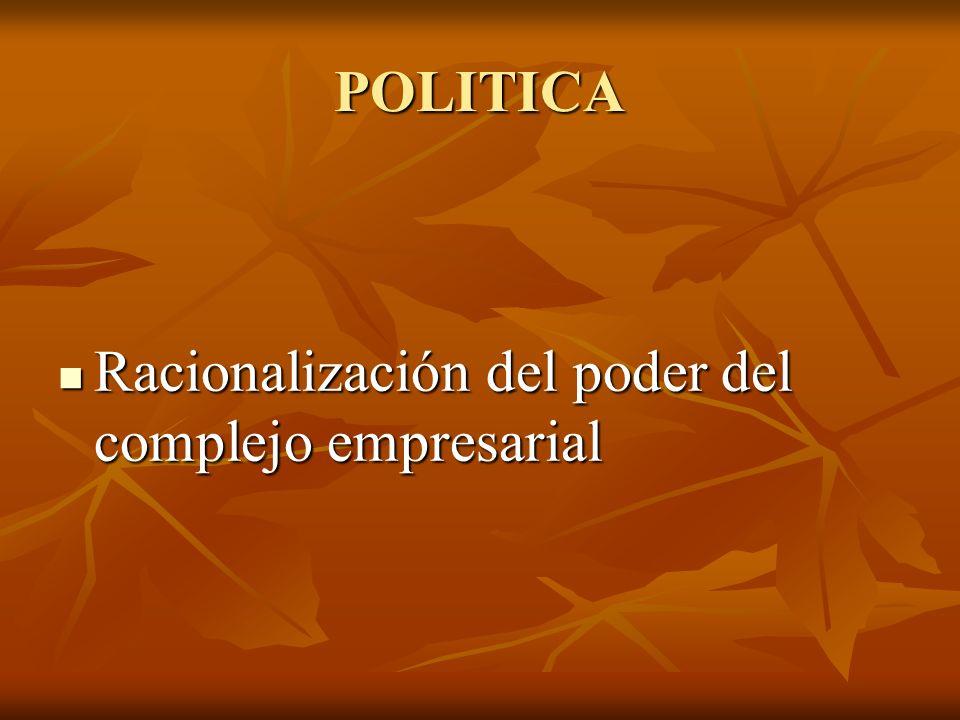 POLITICA Racionalización del poder del complejo empresarial